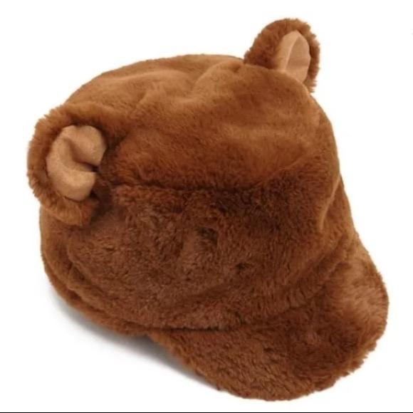 7df0023efcb Brown bear Fuzzy Faux fur ears Plush cap hat